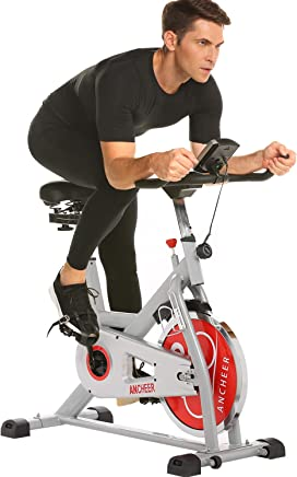 ANCHEER Indoor Cycling Bike with 49LBS Flywheel, Quiet Smooth Belt Drive Exercise Bike with...