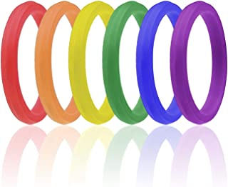 Gay Pride Day Ring for Men and Women - 6 Pack - Stackable - His & His/Her & Her Silicone Rubber Wedding Bands