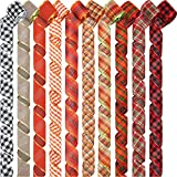 10 Rolls 100 Yards Buffalo Plaid Ribbon Wired Edge Ribbon Fall Check Ribbon Burlap Style Ribbon Holiday Wrapping Ribbon for Wreath Bows (Red, Light Green, Orange, Natural, Black, White)