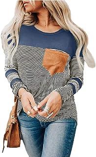 GUOCAI Women's Tops Long Sleeve Color Block Stripe T-shirt Blouse with Pocket