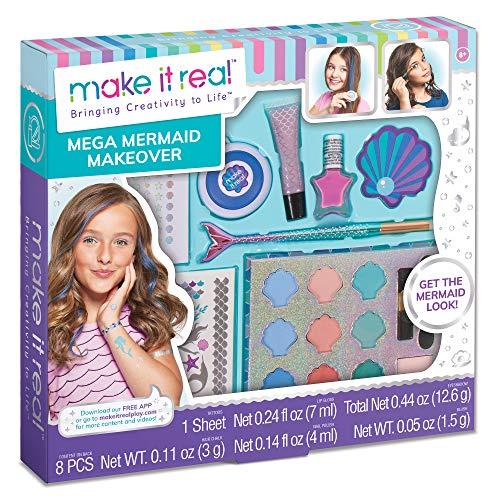 Make It Real – Mega Mermaid Makeover. Mermaid Themed Girls Makeup Kit. Starter Cosmetic Set for Kids and Tweens. Includes Case, Mirror, Eye Shadow, Blush, Mermaid Brushes, Lip Gloss, Nail Polish