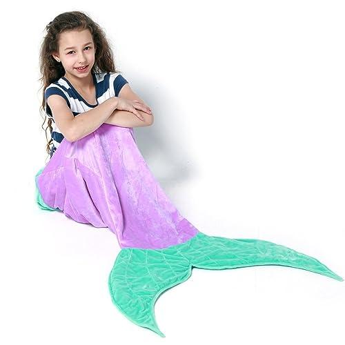ab053b4a3f5 Echolife Mermaid Tail Blanket Super Soft Fleece Sleeping Bags Flannel  Mermaid Blanket Tail Great Gifts for