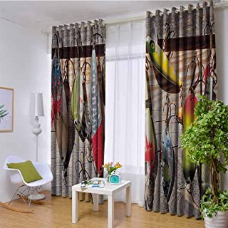 hengshu Fishing Wear-Resistant Color Curtain Lure Rods Fisherman Gifts Special Impressive Design for Fisherman Creative Exceptional 2 Panel Sets W120 x L96 Inch Taupe Yellow Red Green Navy