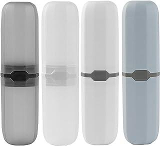 4 Pcs Travel Toothbrush Case Box, Plastic Portable Toothbrush Holder, Capsule Oran Denture Care Container, Denture Brush C...