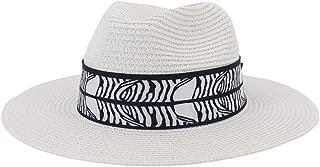 SHENTIANWEI Summer Women's Fashion Wide Brim Straw Sun Hat Fedora Hat Double Color Satin Bandwidth Panama Hat