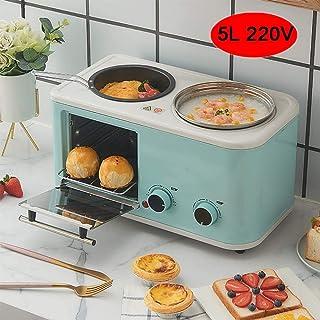 Mini horno de 5 l tres en uno multifunción pequeña máquina de desayuno freír hervir tostado al mismo tiempo que ahorra tiempo, azul claro XUAGMT (color: azul claro)