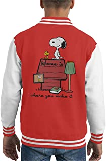 Home Is Where You Make It Snoopy Charlie Brown Kid's Varsity Jacket
