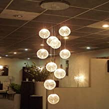 NANSONG Modern Large LED Chandeliers Stair Long Globe Glass Ball Ceiling Lamp with 10 Balls Light Fitting Fixture Home Lig...
