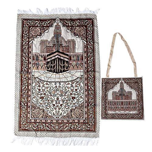 CLISPEED Muslimischer Gebetsteppich mit Umhängetasche Moschee Druckdecke Islamischer Janamaz Sajadah Namaz Seccade Gebetsteppich Rechteckiger Baumwollmatte Teppich für Meditation Pilgerfahrt