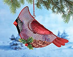 Red Cardinal Glass Wings Christmas Winter Outdoor Bird Feeder Holiday Decoration