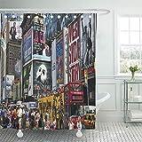 AllenPrint Shower Curtain,Broadway Nueva York 6 De Agosto De 2010 Times Traffic Cortinas De Baño Cortinas De Baño Llamativas 168x183cm