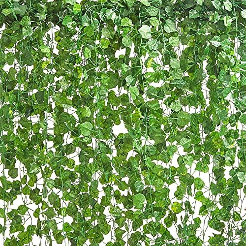 LA.PONEE 12 Strands Artificial Ivy Leaf Plants Vine Hanging Garland Fake Foliage Flowers Home Kitchen Garden Office Wedding Wall Decor (Green 3-84 Feet)