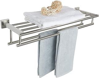 Alise 28-Inch Bathroom Lavatory Towel Rack Towel Shelf with Two Towel Bars Wall Mount Towel Holder,GZ8070-LS SUS 304 Stainless Steel Brushed Nickel