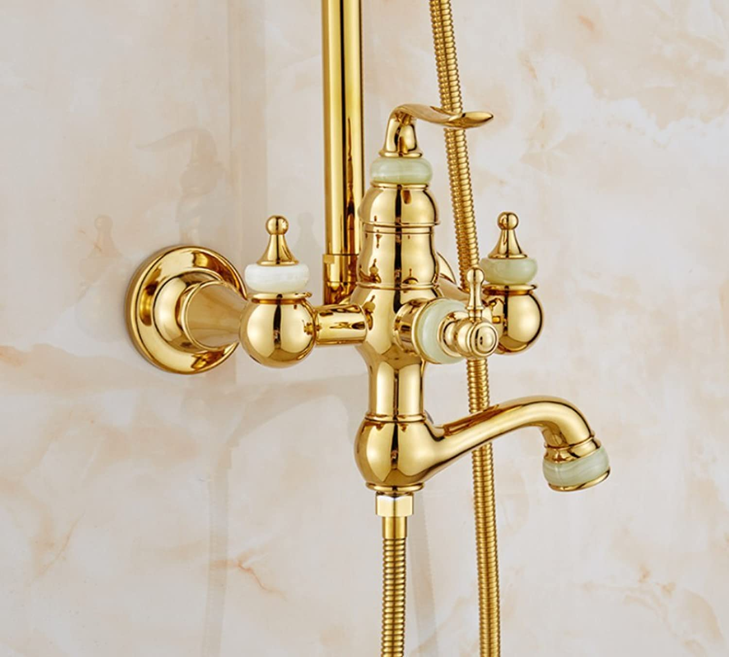 ZHWY take a shower Shower set Copper gold Hot and cold lifting Antique shower head Mixing valve,A