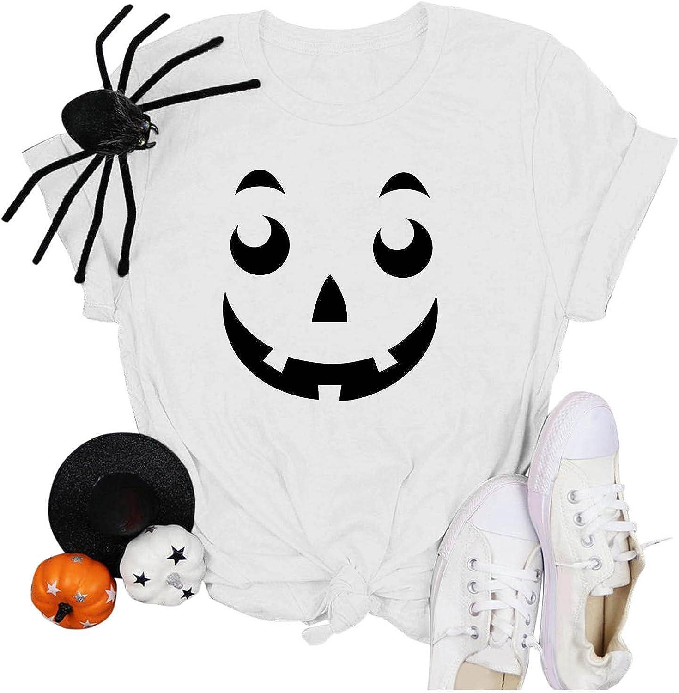 AODONG Halloween T Shirts for Women, Womens Cute Pumpkin Printed Shirts Short Sleeve Fall T-Shirts Tops Graphic Tees