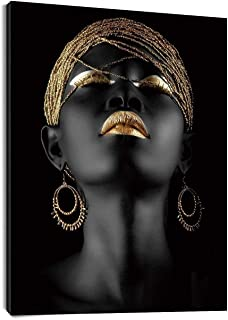 LB African Woman Canvas Wall Art Africa Black Girl Golden Headdress Beauty Painting Canvas Prints Wall for Living Room Bedroom Bathroom Home Decor Framed Ready to Hang,12x16 inch