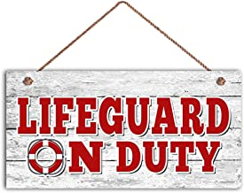 TOPFINES Lifeguard ON Duty Sign, Swimming Pool Sign, Pool Gate Sign, 5