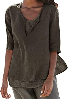 TINGZI Women Tees Loose Linen Casual Button V Neck Plus Size Solid Shirt Blouse Tunic Tops Slim Fit Comfy Tunic