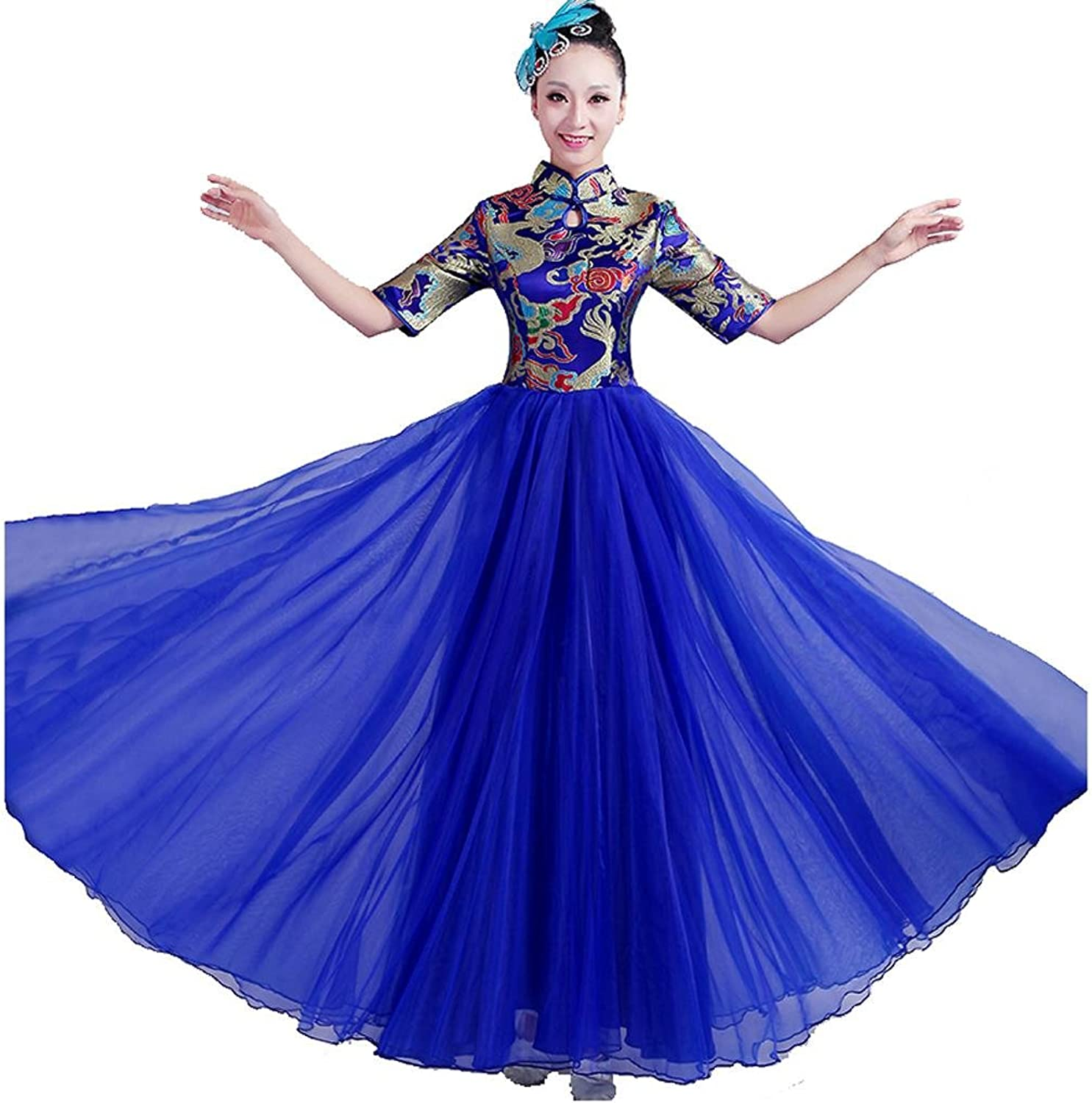 Byjia Adult Women Dance Long Dresses Opening Big Skirt Printing Embroidery Sequins Modern Chorus Nation Classical Stage Group Team Performances Costumes