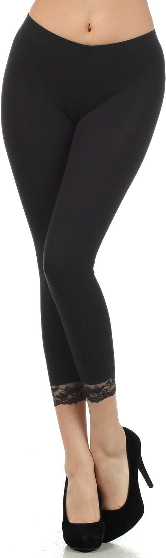 Sakkas Cotton Lycra Blend Lace Trim Cash special price Stretch Leggings - Mad Bombing new work Capri