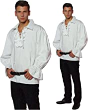 maylynn - Camicia da Pirata Medievale con Volant in Cotone - Bianco - M/L