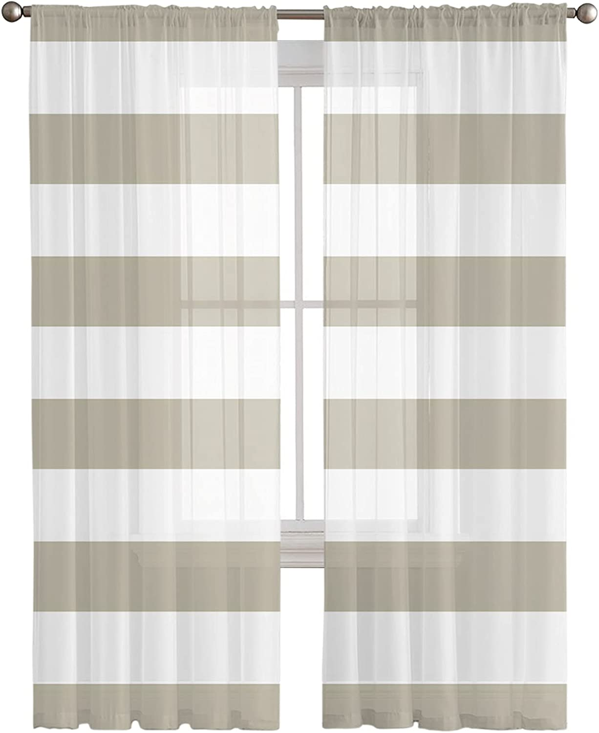 Sheer All stores are sold Curtains 72 Inches Long Semi 2 Panels Stripe Seasonal Wrap Introduction Voile