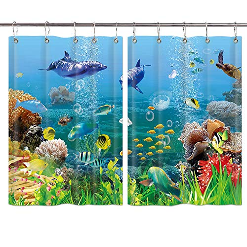 DYNH Fantasy Underwater Kitchen Curtains, Cartoon Marine Animals with Corals Dolphin Sea Turtle and Tropical Fishes in Mystic Sea World Window Curtain Panels Valance, Drapes Hooks Included 55X39 Inch