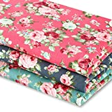3 Pieces 3 Yards 62 Inch Wide Vintage Floral Fabric Rose Pattern Flowers Print Quilting Fabric Bundle for Quilting Sewing Crafting DIY Making