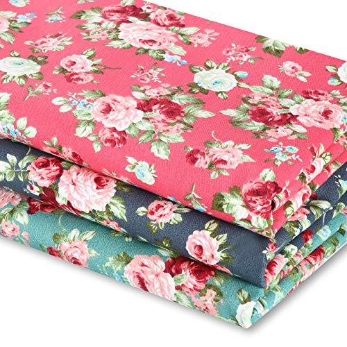 3 Pieces 3 Yards 62 Inch Wide Vintage Floral Cotton Fabric Rose Pattern Flowers Print Quilting Fabric Bundle for Quilting Sewing Crafting DIY Making