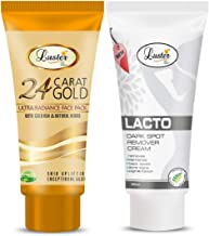 Luster Lacto Dark Spot Remover Cream & Gold Face Pack (Paraben & Sulfate Free)-Pack of 2-60ml each)