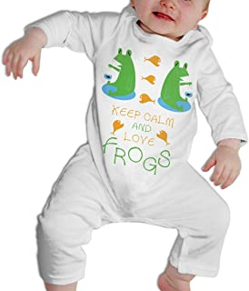 SARA NELL Baby Boys & Girls Bodysuit Crown Keep Calm and Love Frogs Jumpsuit Onesies Long Sleeve