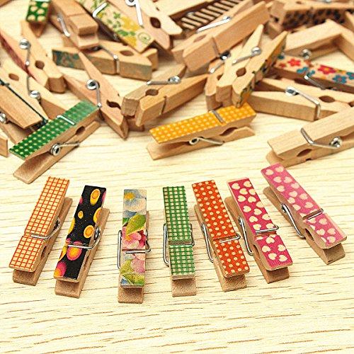 Bluelover 50 stuks schattige beschilderde houten mini craft haringen doek foto afbeelding hangende veer clips wasknijpers