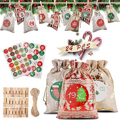 phixilin Calendario de Adviento, 24 DIY Bolsa de Regalo Navidad Bolsas de Yute con 24 Adhesivos Digitales de Adviento para Navideña, Bodas, Cumpleaños y Regalos
