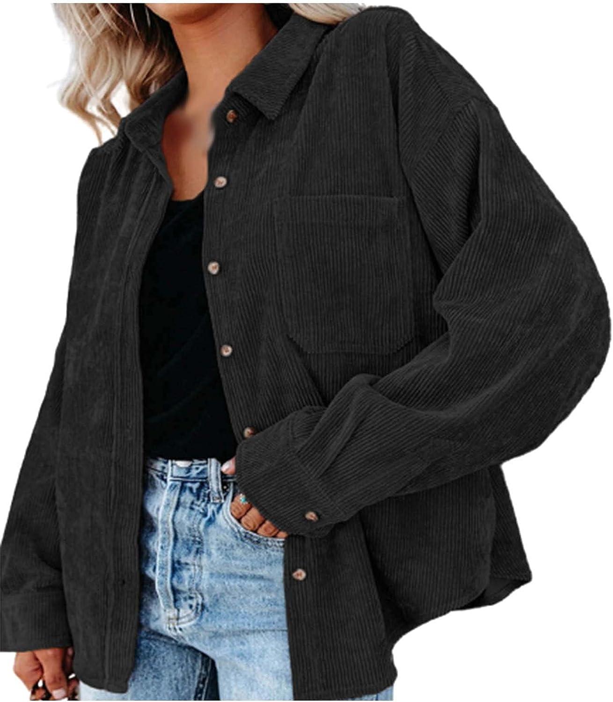 Solid Color Cardigan for Women, Women's Corduroy Shirt Jackets Long Sleeve Button Down Lapel Jacket Coat Outwear