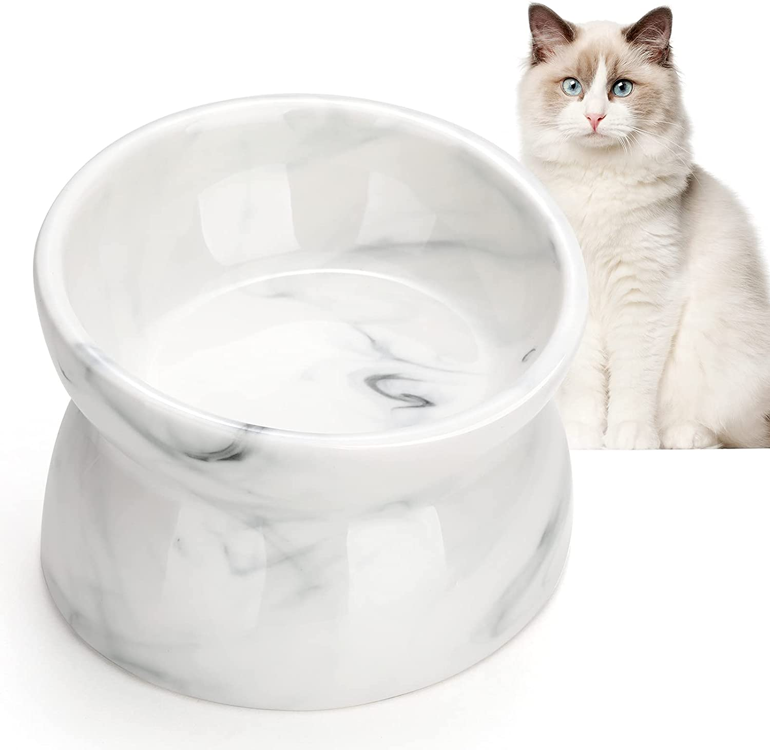 Sales results No. 1 Pawaboo Max 80% OFF Raised Cat Food Bowl Feeder Tilted Ceramic 15° Dis