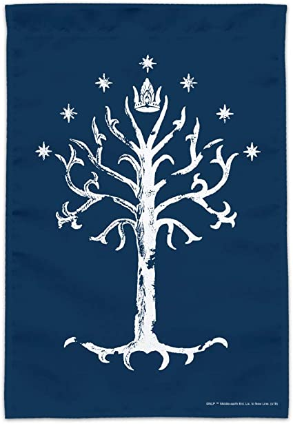 Astany White Tree of Gondor Tolkien Hobbit Lord of The Rings 3X5FT Vertical Black Flag