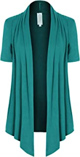 MixMatchy Women's [Made in USA] Solid Jersey Knit Short Sleeve Open Front Draped Cardigan (S-3XL)