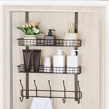 Coat Hook Metal Storage Rack with 2 Baskets & 5 Hooks Over The Door Organizer Decorative for Office, Bathroom, Bedroom