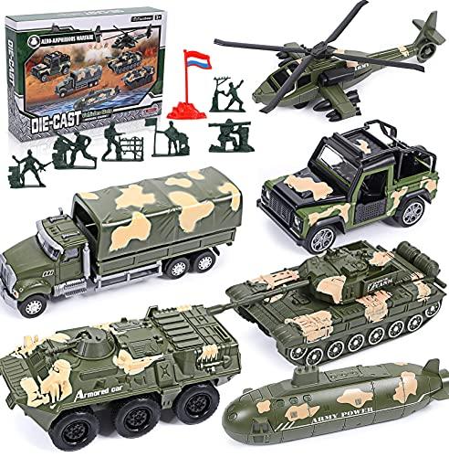 vamei 6pcs Vehículo Militar Juguete Niños Juguete Militar en Miniatura Modelo Vehículo Militar Ejército de Juguete Aleación Helicóptero Submarino Tanque Militar Regalo Cumpleaños Niño 4 5 6 7