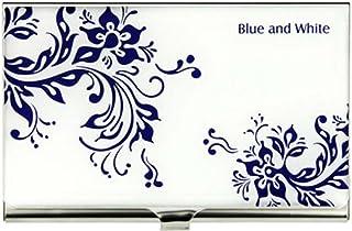 Boîte à cartes de porcelaine bleue et blanche Nom commercial titulaire de la carte