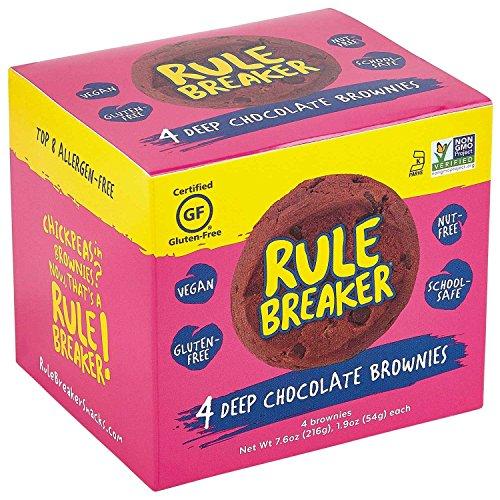 Rule Breaker Snacks, Deep Chocolate Brownie, Vegan, Gluten Free, Nut Free, Allergy Friendly, Kosher, Individually Wrapped 1.9oz Cookies (4 Brownies)