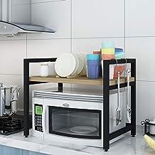 Microondas digitales horno Microondas horno de carro estante Utility Storage soporte del estante de la Cesta de cocina simple panadero for Spice rack Organizador ahorrar espacio duradero, 2 horno de m