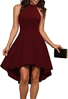 Womens Halter Neck High Low Dresses Sexy Backless A Line Cocktail Party Skater Dress