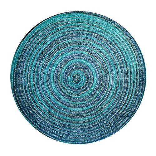 Haus und Deko Bast Platzset rund ca. 40 cm Ø Kunststoff Tischset Untersetzer waschbar Türkis Blau meliert