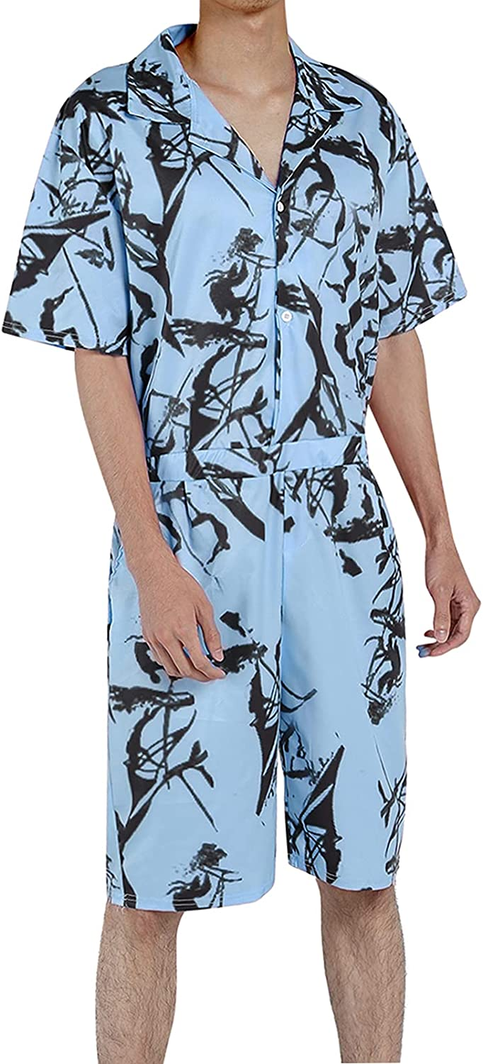 Men Romper Jumpsuit One Piece Outfit supreme Gifts Butto Sleeve Short Overalls