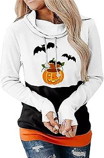 Women Halloween Tops Casual High Collar Creative Pumpkin Bat Printing Hoodie Long Sleeve Loose Hoodie