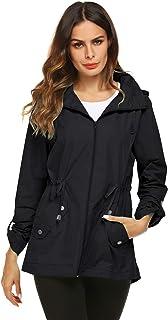 Raincoat Women Waterproof Outdoor Active Mesh Lining Hooded Rain Trench Jacket