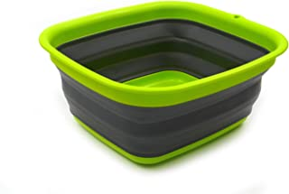 SAMMART 7.7L (2 Gallon) Collapsible Tub - Foldable Dish Tub - Portable Washing Basin - Space Saving Plastic Washtub (Dark Grey, S)