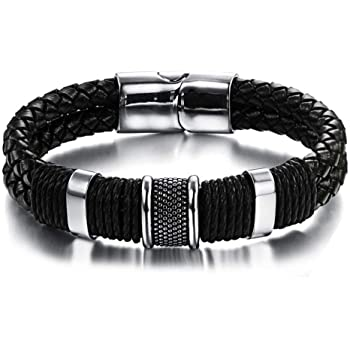 Mens Black Leather Bracelet Bangles Jewellery with Gift Bag AUS SELLER