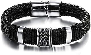 Regalo per la festa del papà, CNNIK cinturino in pelle nera intrecciata con confezione regalo 8.66 inch Retro Men's Bracci...